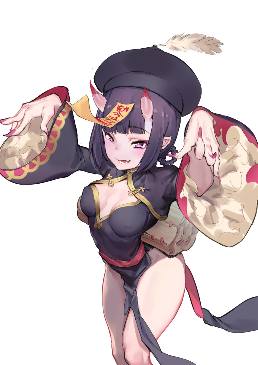 1girl absurdres atorosu bangs black_dress blush braid breasts china_dress chinese_clothes cleavage_cutout dress eyeliner fate/grand_order fate_(series) fingernails hair_rings hands_up hat heroic_spirit_festival_outfit highres horns jiangshi long_sleeves looking_at_viewer makeup ofuda oni oni_horns open_mouth outstretched_arms peacock_feathers pelvic_curtain pointy_ears purple_hair qing_guanmao sash sharp_fingernails short_eyebrows short_hair shuten_douji_(fate/grand_order) side_slit small_breasts smile solo thighs violet_eyes wide_sleeves zombie_pose