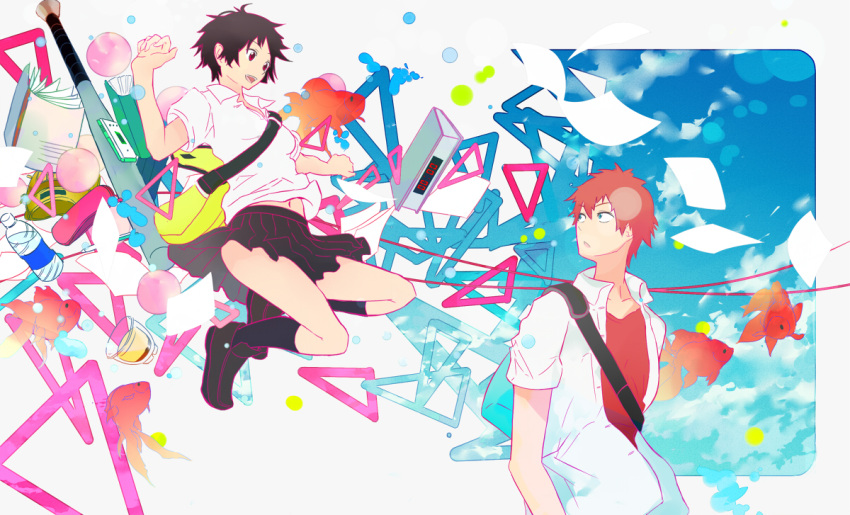 1boy 1girl :d :o abstract alarm_clock arms_up bag baseball_bat black_eyes black_hair black_skirt blue_eyes blue_sky book bottle cellphone clock collarbone colorful commentary_request day dessert djyui expressionless fish flip_phone food full_body happy jumping konno_makoto loafers long_hair looking_at_another looking_back mamiya_chiaki navel notebook open_clothes open_mouth open_shirt outdoors paper parted_lips phone pleated_skirt polka_dot pudding red_shirt redhead school_bag school_uniform shirt shoes short_hair short_sleeves skirt sky smile socks teeth toki_wo_kakeru_shoujo uniform upper_body upper_teeth very_short_hair water_bottle white_shirt