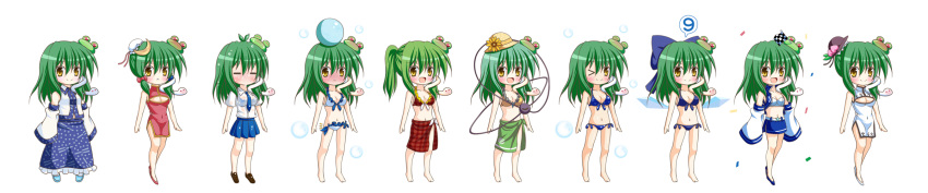 >_o (9) 1girl :d =_= adapted_costume alternate_hairstyle ball beachball bikini blue_bikini blue_bow blush bow breasts chibi china_dress chinese_clothes cirno cirno_(cosplay) cleavage_cutout commentary_request cosplay detached_sleeves dress eyebrows_visible_through_hair frilled_bikini frills frog_hair_ornament green_hair hair_bow hair_ornament hat highres hinanawi_tenshi hinanawi_tenshi_(cosplay) ice ice_wings japanese_clothes kazami_yuuka kazami_yuuka_(cosplay) kochiya_sanae komeiji_koishi komeiji_koishi_(cosplay) large_bow long_hair long_image miko multiple_views one_eye_closed open_mouth osashin_(osada) ponytail racequeen sarong simple_background smile snake_hair_ornament swimsuit third_eye touhou variations wet wet_clothes white_background wide_image wings yellow_eyes
