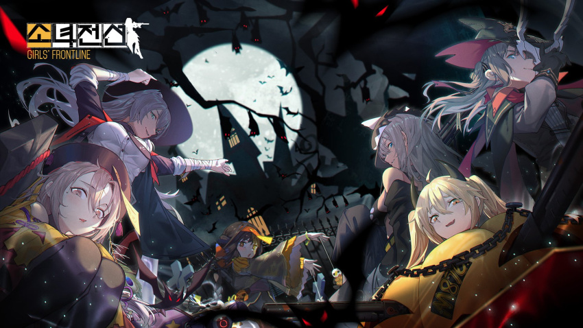 6+girls alternate_costume artist_name awkward bandages bangs bare_tree bat black_hair blue_eyes blurry_foreground blush braid breasts brown_eyes brown_hair building cape demon_horns dual_wielding eyebrows_visible_through_hair floating_hair full_moon girls_frontline grey_hair half_mask halloween_costume hat highres holding horns jacket jiangshi ksvk_(girls_frontline) large_breasts light_particles long_hair looking_at_viewer m870_(girls_frontline) mg3_(girls_frontline) model_l_(girls_frontline) moon multiple_girls off_shoulder official_art ofuda open_mouth outstretched_arms pumpkin_costume qbu-88_(girls_frontline) sidelocks sky smile star_(sky) starry_sky sweatdrop tree type_97_shotgun_(girls_frontline) very_long_hair wallpaper wide_sleeves zombie_pose
