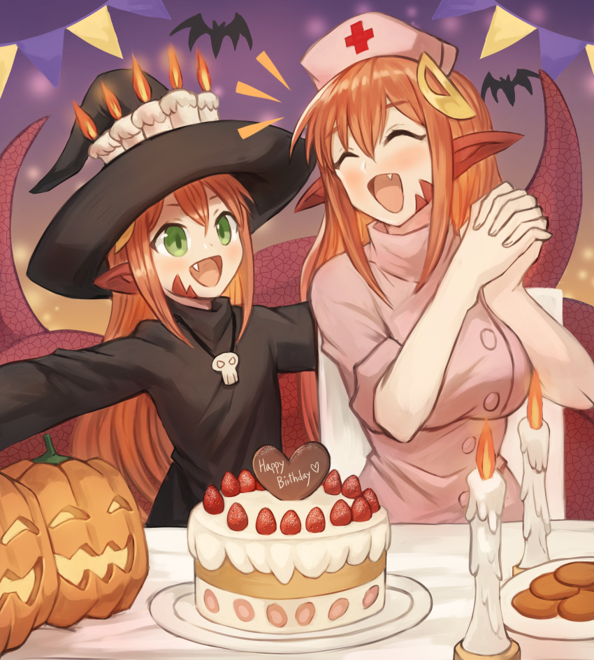2girls :d absurdres bat birthday_cake birthday_party blush breasts cake candle chocolate closed_eyes commission cookie dish eyebrows_visible_through_hair fang food fruit green_eyes hair_between_eyes hair_ornament hairclip halloween halloween_costume hands_together happy happy_birthday hat highres huge_filesize jewelry lamia large_breasts miia_(monster_musume) mika_(miiafag) monster_girl monster_musume_no_iru_nichijou mother_and_daughter multiple_girls necklace nurse nurse_cap open_mouth original outstretched_arms own_hands_together pointy_ears pumpkin redhead skull smile sookmo spread_arms strawberry table tail witch_costume witch_hat