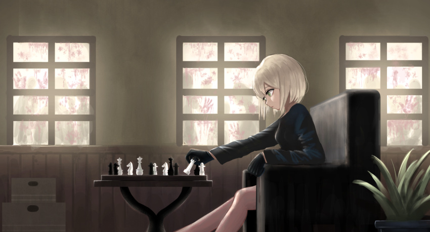 1girl black_gloves bloody_handprints board_game box breasts chess chess_piece day gloves highres indoors long_sleeves magaoo12 original plant potted_plant profile short_hair silhouette sitting small_breasts solo_focus table white_hair window zombie