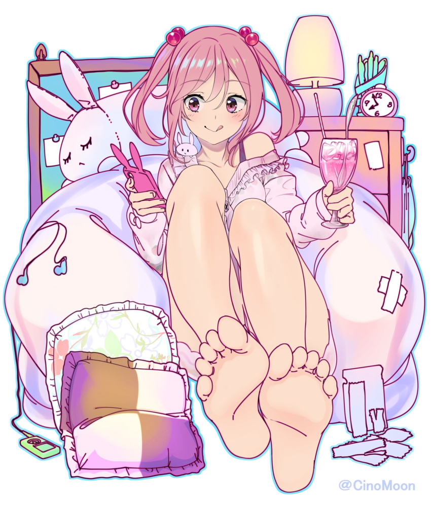 1girl :p animal_ears barefoot blush board cellphone clock cup dress drink drinking_glass drinking_straw earphones eyebrows eyebrows_visible_through_hair eyelashes feet hair_bobbles hair_ornament highres kantai_collection legs legs_together media_player off_shoulder pencil_case phone phone_with_ears pillow pink_dress pink_eyes pink_hair rabbit rabbit_ears sazanami_(kantai_collection) shinomu_(cinomoon) short_hair sitting smartphone smartphone_case soles solo spoon stuffed_animal stuffed_bunny stuffed_toy toes tongue tongue_out twintails twitter_username