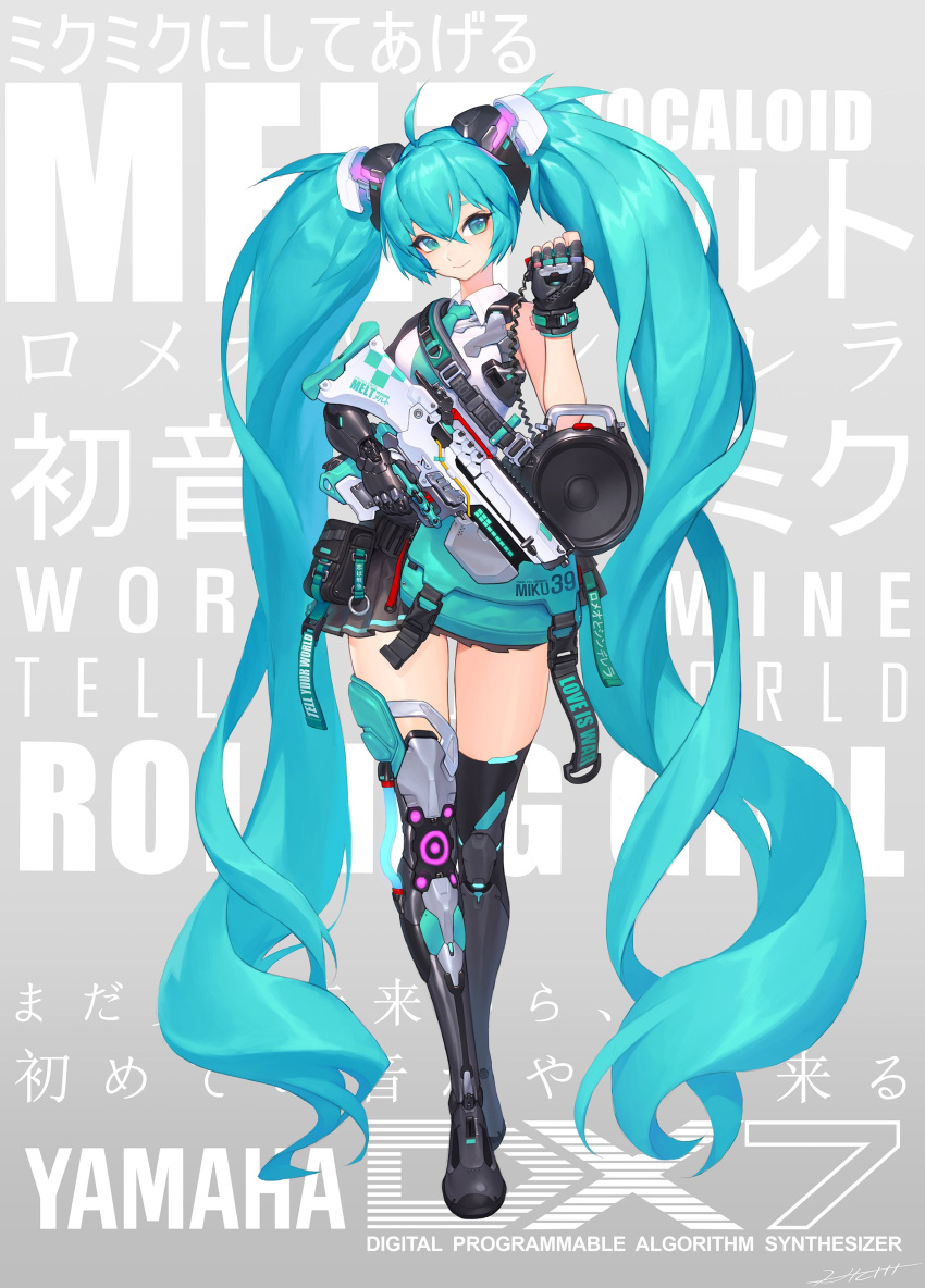 1girl absurdly_long_hair absurdres ahoge aqua_eyes aqua_hair aqua_neckwear black_gloves black_legwear commentary commentary_request controller cyborg fingerless_gloves full_body gloves gun hair_between_eyes hatsune_miku headgear hichi highres holding holding_gun holding_weapon long_hair loudspeaker mechanical_arm mechanical_leg military_operator mixed-language_commentary necktie pouch remote_control shirt shoulder_tattoo single_glove single_thighhigh sleeveless sleeveless_shirt smile solo submachine_gun suspenders_hanging tattoo thigh-highs trigger_discipline twintails very_long_hair vocaloid weapon