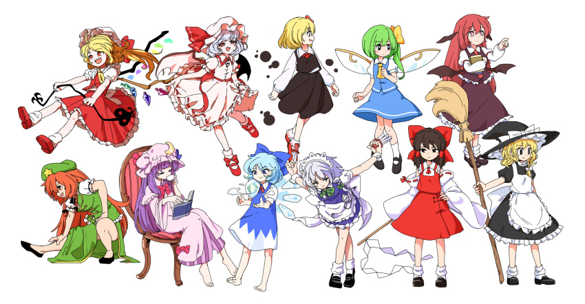 6+girls apron barefoot bat_wings between_fingers black_bow black_eyes black_footwear black_shirt black_skirt black_vest blonde_hair blue_bow blue_dress blue_eyes blue_hair blue_skirt blue_vest bobby_socks book bow braid broom brown_hair chair cirno closed_eyes crescent crystal cup daiyousei detached_sleeves dress drinking fang flandre_scarlet frog frozen_frog gohei green_dress green_hair green_headwear green_skirt hair_bow hair_tubes hair_wings hakurei_reimu hat hat_ribbon highres holding holding_book holding_broom holding_cup holding_knife hong_meiling ice ice_wings izayoi_sakuya kirisame_marisa knife koakuma laevatein long_hair long_sleeves maguro_(mawaru_sushi) maid maid_headdress mob_cap multiple_girls open_mouth patchouli_knowledge pink_dress pink_headwear pointing puffy_short_sleeves puffy_sleeves purple_dress purple_hair reading red_bow red_eyes red_footwear red_neckwear red_skirt red_vest redhead remilia_scarlet ribbon rumia shide shirt shoe_bow shoes short_hair short_sleeves side_ponytail silver_hair simple_background sitting skirt smile socks stretch striped striped_dress the_embodiment_of_scarlet_devil touhou vest white_background white_legwear white_shirt wings witch_hat yellow_neckwear