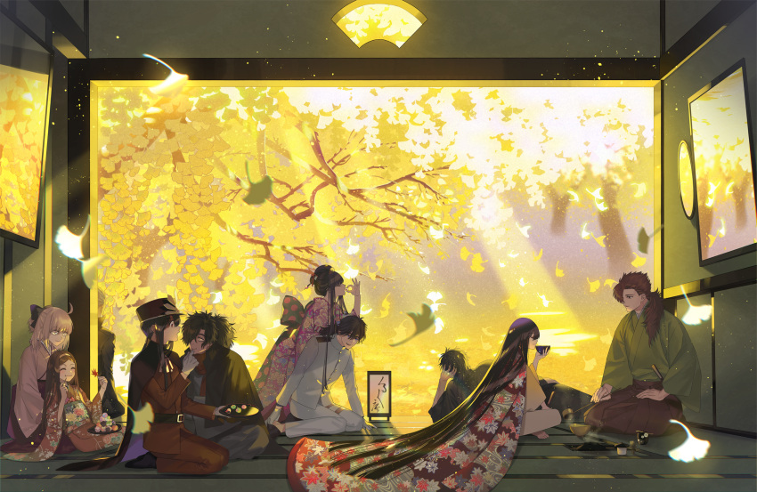 absurdly_long_hair ahoge akechi_mitsuhide_(fate/grand_order) alternate_costume bangs barefoot black_hair cape chacha_(fate/grand_order) chewing cloak closed_eyes commentary_request dango eating eyebrows_visible_through_hair falling_leaves fan fate/grand_order fate_(series) feeding folding_fan food formal gloves hair_bun hair_over_one_eye hair_ribbon hakama highres hijikata_toshizou_(fate/grand_order) hime_cut holding holding_another holding_fan holding_leaf indian_style indoors japanese_clothes kimono koha-ace layered_clothing layered_kimono leaf long_hair long_sleeves lounging military military_uniform mori_nagayoshi_(fate) obi oda_nobukatsu_(fate/grand_order) oda_nobunaga_(fate) oda_nobunaga_(fate)_(all) okada_izou_(fate) okita_souji_(fate) okita_souji_(fate)_(all) oryou_(fate) platinum_blonde_hair ponytail red_eyes red_suit redhead ribbon sakamoto_ryouma_(fate) sash seiza sidelocks sitting sitting_on_lap sitting_on_person straight_hair suit tatami tea_ceremony tea_set tied_hair tray uniform very_long_hair wagashi warabi_tama white_gloves white_suit yellow_eyes