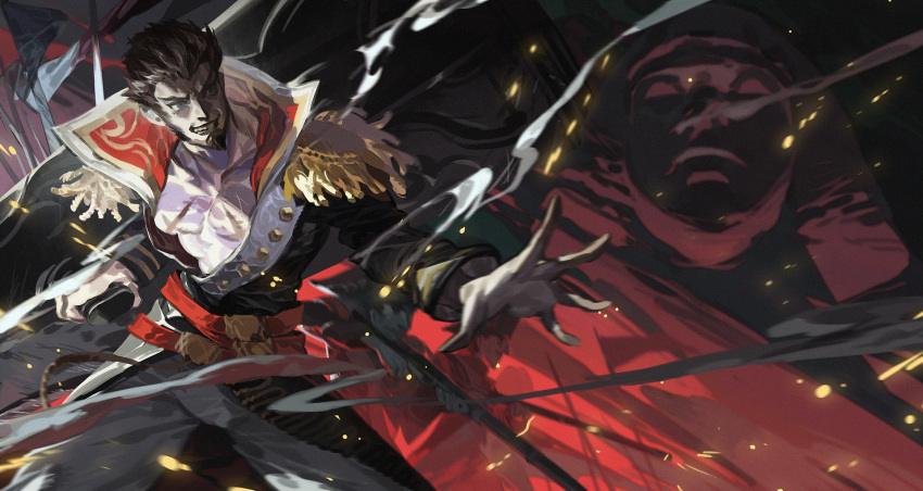 1boy bare_chest beard belt blue_eyes brown_hair chest collared_jacket commentary_request epaulettes facial_hair fate/grand_order fate_(series) gold_trim gun highres huge_weapon long_sleeves male_focus military military_uniform multiple_belts muscle napoleon_bonaparte_(fate/grand_order) open_clothes pants pectorals scar smile smirk smoke solo teeth uniform weapon yotsuyu