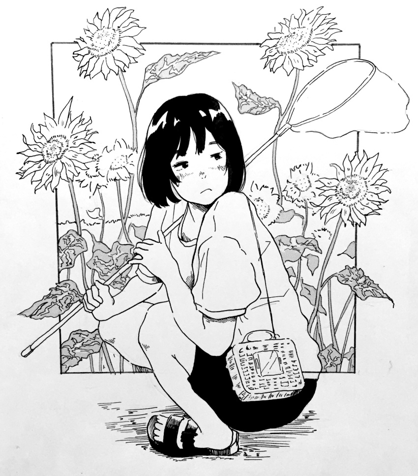 1girl absurdres bangs black_hair blush bob_cut butterfly_net flower frown hand_net highres monochrome original ruwaruwa527 sandals shirt short_hair solo squatting sunflower t-shirt traditional_media