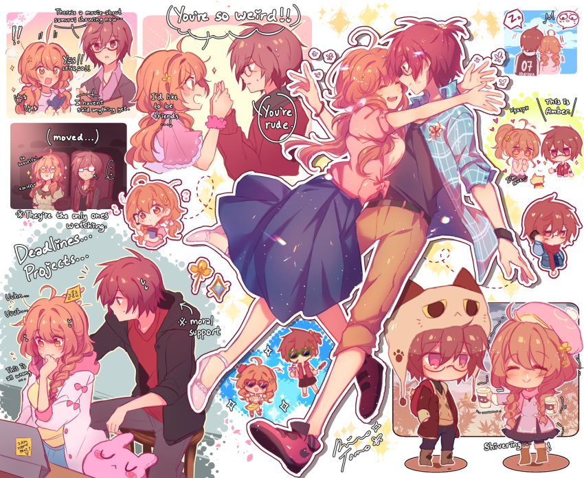 !! ... 1boy 1girl :> ^_^ ^o^ ahoge belt blue_skirt breasts brown_eyes brown_hair brown_pants cellphone closed_eyes closed_mouth directional_arrow english_text facing_another flower glasses hair_flower hair_ornament heart heart-shaped_eyewear highres holding holding_cellphone holding_phone hug icedteii long_hair long_sleeves looking_at_another looking_away medium_breasts open_mouth original pants parted_lips phone ponytail short_hair short_ponytail short_sleeves sitting skirt speech_bubble spoken_ellipsis stuffed_animal stuffed_toy sunglasses sweatdrop tablet_pc text_focus twintails