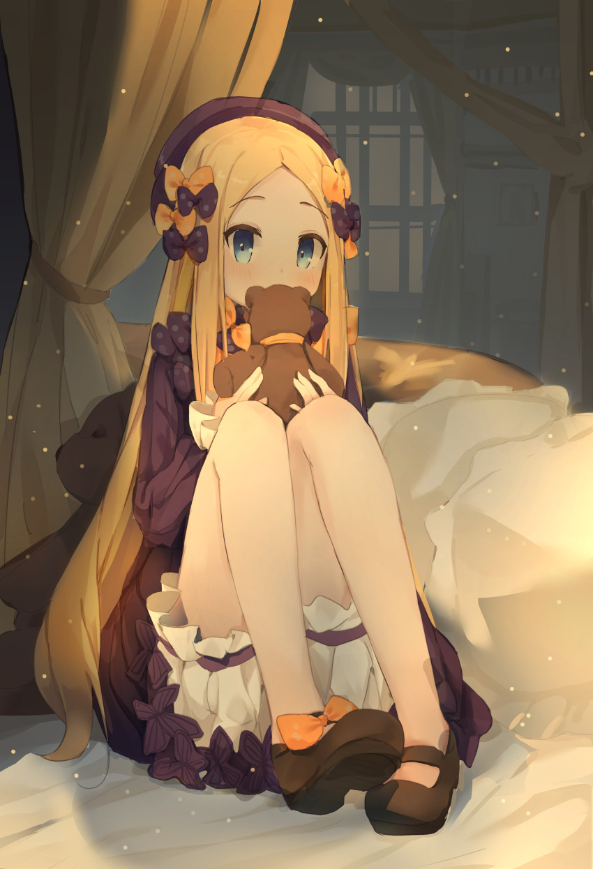1girl abigail_williams_(fate/grand_order) absurdres bangs bed_sheet black_bow black_dress black_footwear black_headwear blonde_hair bloomers blue_eyes blush bow bug butterfly coria covered_mouth curtains dress eyebrows_visible_through_hair fate/grand_order fate_(series) forehead full_body hair_bow hands_up hat highres holding holding_stuffed_animal insect knees_up long_hair long_sleeves looking_at_viewer orange_bow parted_bangs polka_dot polka_dot_bow shoes sleeves_past_wrists solo stuffed_animal stuffed_toy teddy_bear underwear very_long_hair white_bloomers