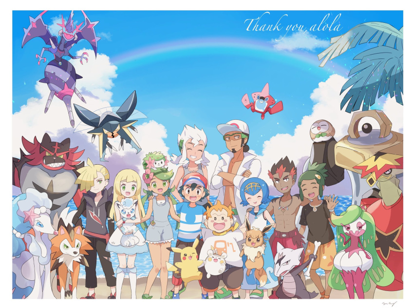 4girls 6+boys alolan_form alolan_marowak alolan_vulpix baseball_cap black_hair black_pants black_shirt blonde_hair blue_hair blue_sky brother_and_sister burnet_(pokemon) capri_pants closed_eyes closed_mouth clouds dark_skin dark_skinned_male day dress eevee flower gen_1_pokemon gen_4_pokemon gen_7_pokemon gladio_(pokemon) green_eyes green_hair grin hair_flower hair_ornament hairband hat hau_(pokemon) highres holding holding_pokemon husband_and_wife incineroar kaki_(pokemon) kukui_(pokemon) labcoat lillie_(pokemon) long_sleeves lycanroc mamane_(pokemon) mao_(pokemon) mei_(maysroom) melmetal multicolored_hair multiple_boys multiple_girls naganadel open_mouth orange_hair outdoors overalls pants pikachu pokedex pokemon pokemon_(anime) pokemon_(creature) pokemon_on_head pokemon_sm_(anime) ponytail primarina rainbow redhead rotom rotom_dex rowlet satoshi_(pokemon) shaymin shirt short_hair short_sleeves siblings sky sleeveless sleeveless_dress smile spiky_hair suiren_(pokemon) sunglasses togedemaru torn_clothes torn_pants trial_captain tsareena turtonator twintails ultra_beast vikavolt water white_dress