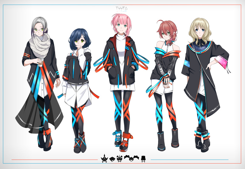 1girl 5girls absurdres blonde_hair blue_eyes boots brown_hair darling_in_the_franxx glasses highres ichigo_(darling_in_the_franxx) ikuno_(darling_in_the_franxx) kokoro_(darling_in_the_franxx) miku_(darling_in_the_franxx) multiple_girls original pink_hair shoes short_hair yuuta_(yuuta0312) zero_two_(darling_in_the_franxx)