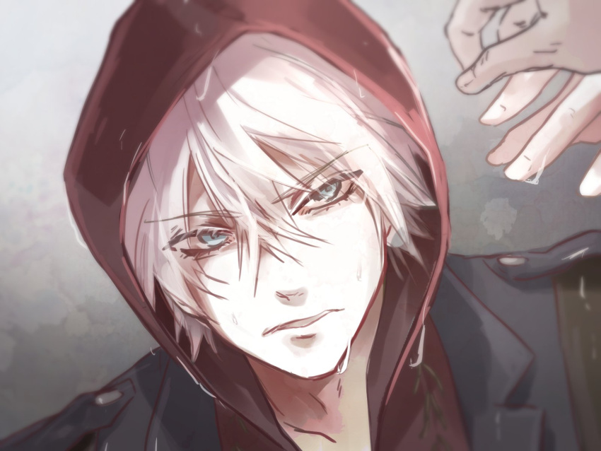 1boy 1other akihaasagi blue_eyes devil_may_cry devil_may_cry_4 dripping dutch_angle eyebrows_visible_through_hair eyes_visible_through_hair hair_between_eyes highres hood hood_up hoodie male_focus nero_(devil_may_cry) parted_lips rain wet white_hair