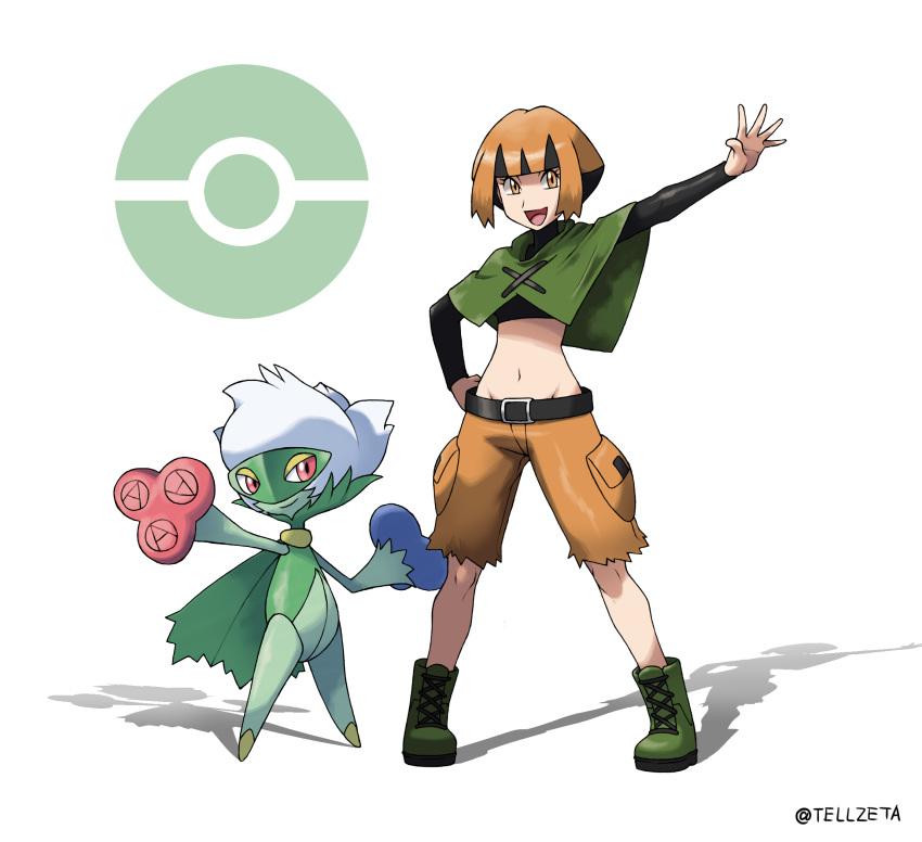 crop_top midriff natane_(pokemon) navel orange_eyes orange_hair pokemon roserade short_hair
