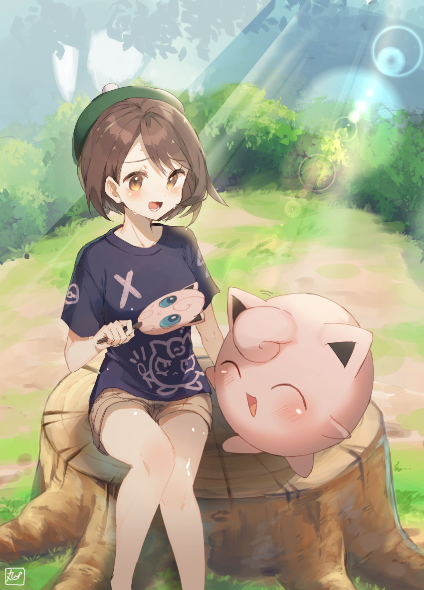 1girl :d ^_^ absurdres bare_legs black_shirt blush brown_eyes brown_hair brown_shorts bush closed_eyes commentary_request day fan feet_out_of_frame female_protagonist_(pokemon_swsh) forest gen_1_pokemon green_headwear happy highres holding holding_fan hot jigglypuff lens_flare light_rays motion_lines nature oomori_(kswmr) open_mouth outdoors paper_fan pokemon pokemon_(creature) pokemon_(game) pokemon_swsh shirt short_shorts short_sleeves shorts signature sitting smile sunbeam sunlight sweat tam_o'_shanter tree_stump uchiwa