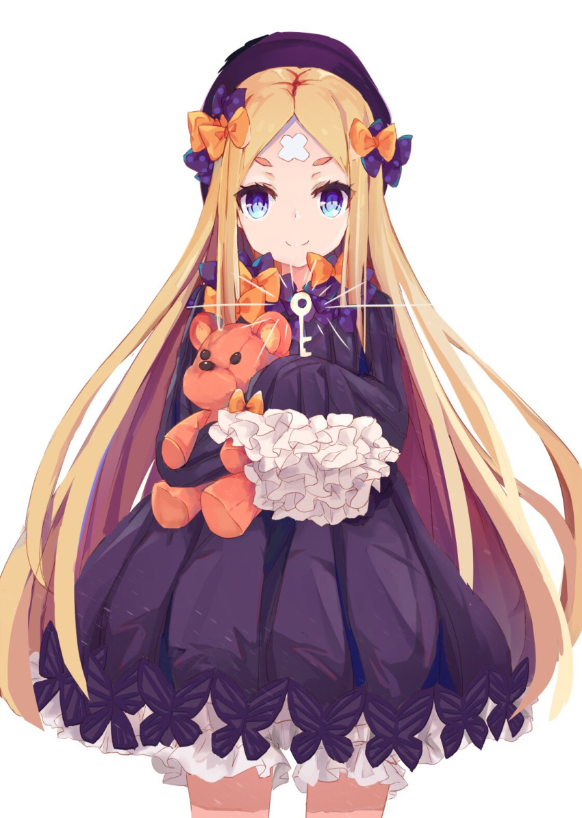 >:) 1girl abigail_williams_(fate/grand_order) bangs black_bow black_dress black_headwear blonde_hair bloomers blue_eyes bow bug butterfly closed_mouth coria cowboy_shot crossed_bandaids dress fate/grand_order fate_(series) hair_bow hat highres insect key long_hair long_sleeves looking_at_viewer object_hug orange_bow parted_bangs polka_dot polka_dot_bow short_eyebrows simple_background sleeves_past_fingers sleeves_past_wrists smile solo stuffed_animal stuffed_toy teddy_bear thick_eyebrows underwear v-shaped_eyebrows very_long_hair white_background white_bloomers