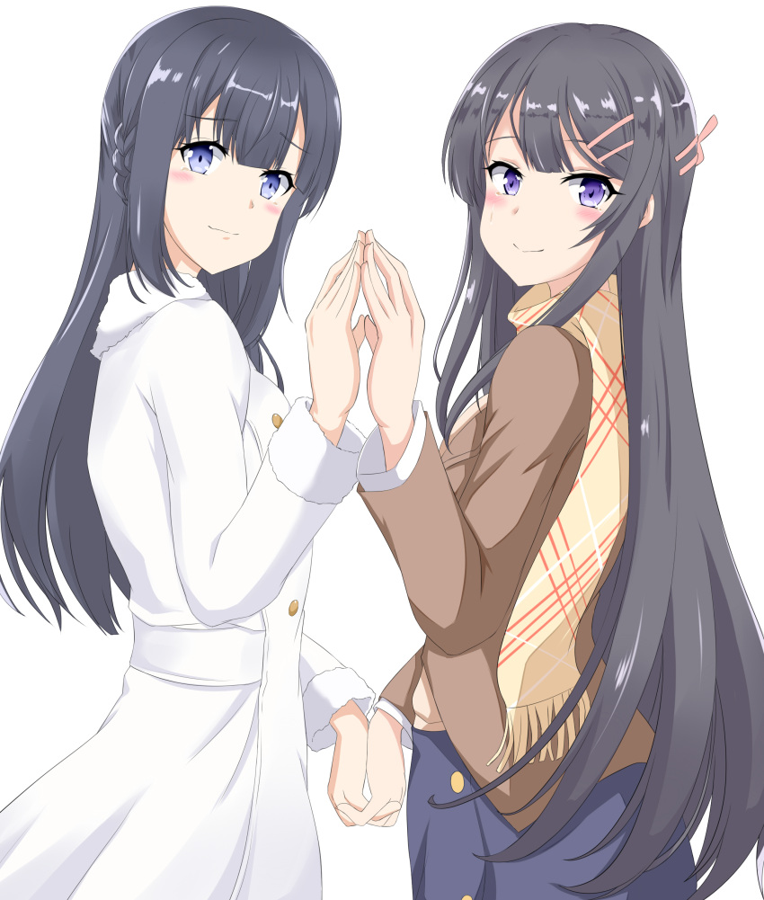 absurdres ainna_(kekai) black_hair blue_eyes blush cowboy_shot cowgirl_position crying hands_together highres holding_hands long_hair looking_at_viewer makinohara_shouko sakurajima_mai scarf seishun_buta_yarou skirt skirt_lift smile straddling white_background