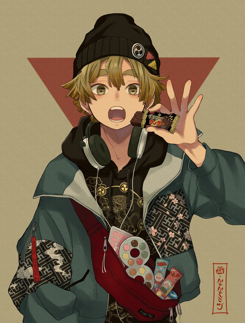 1boy agatsuma_zenitsu artist_name bangs beanie black_shirt blonde_hair blue_coat candy candy_bar character_name coat contemporary drawstring food hat headphones headphones_around_neck high_eight_(candy) highres holding holding_food hood hoodie kimetsu_no_yaiba knapsack looking_at_viewer male_focus mitsudomoe_(shape) nanaminn open_clothes open_coat open_mouth print_coat print_shirt shirt short_hair signature solo standing tomoe_(symbol) umaibou yellow_eyes zipper