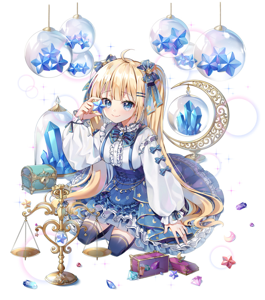1girl ahoge apron black_legwear blonde_hair blue_apron blue_bow blue_eyes blue_skirt bow breasts center_frills chyoling closed_mouth crystal frilled_apron frills gem hair_bow hair_ornament hairclip hand_up highres holding holding_star long_hair looking_at_viewer medium_breasts original puffy_short_sleeves puffy_sleeves shirt short_sleeves skirt sleeves_past_wrists smile solo star suspender_skirt suspenders thigh-highs treasure_chest twintails very_long_hair waist_apron weighing_scale white_shirt