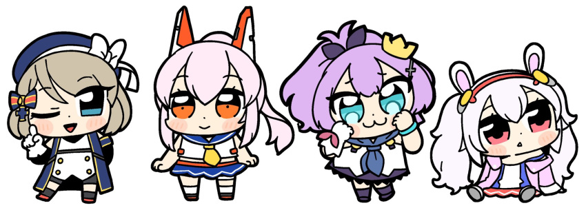 4girls :> :< :3 animal_ears ayanami_(azur_lane) azur_lane bare_arms bare_shoulders beret bkub black_sleeves blue_dress blue_eyes blue_headwear blue_sailor_collar blue_skirt blush_stickers bow brown_hair chibi closed_mouth commentary_request crown detached_sleeves dress gloves hair_bow hair_ornament hair_ribbon hairband hat head_tilt headgear high_ponytail highres iron_cross jacket javelin_(azur_lane) laffey_(azur_lane) long_hair long_sleeves looking_at_viewer looking_away looking_to_the_side mini_crown multiple_girls neckerchief off_shoulder one_eye_closed open_clothes open_jacket orange_eyes parted_lips pink_hair pink_jacket ponytail purple_hair purple_ribbon rabbit_ears red_eyes red_footwear red_hairband ribbon sailor_collar school_uniform serafuku shirt shoe_soles silver_hair simple_background single_glove sitting skirt sleeveless sleeveless_dress sleeveless_shirt smile strap_slip striped striped_bow tilted_headwear triangle_mouth twintails very_long_hair white_background white_camisole white_gloves white_legwear white_shirt yellow_neckwear z23_(azur_lane)
