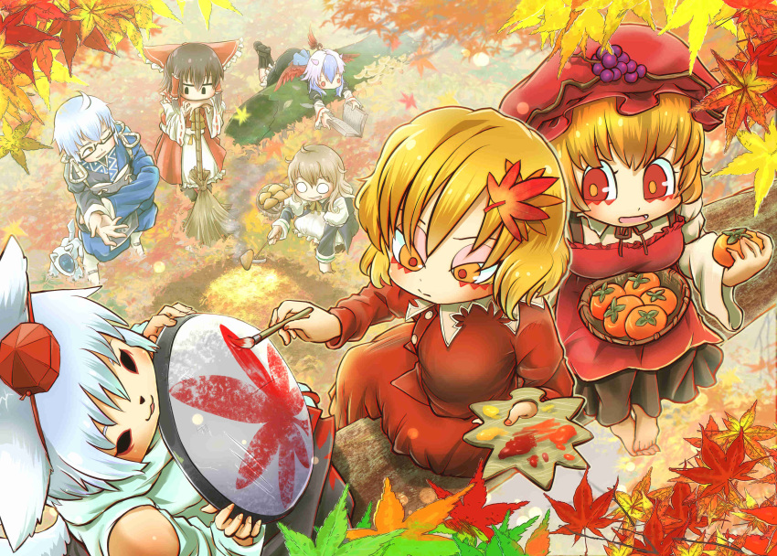 1boy 6+girls absurdres ahoge aibo aki_minoriko aki_shizuha animal_ears apron art_brush ascot autumn autumn_leaves barefoot basket bird_wings black_footwear black_hair black_skirt blonde_hair blue_hair book boots bow braid broom chamaji commentary_request detached_sleeves dog eyebrows_visible_through_hair fallen_tree food frilled_bow frills fruit glasses grapes hair_bow hair_ornament hair_tubes hakurei_reimu hat head_wings highres holding holding_book holding_food holding_fruit holding_paintbrush holding_shield horns inubashiri_momiji kirisame_marisa leaf leaf_hair_ornament leaf_on_head leaning_on_broom leaning_on_object long_sleeves maple_leaf medium_hair morichika_rinnosuke multicolored_hair multiple_girls mushroom nontraditional_miko o_o one_eye_closed outdoors paintbrush painting persimmon puffy_sleeves reading red_bow red_shirt red_skirt ribbon-trimmed_sleeves ribbon_trim robot_animal shield shirt short_hair siblings side_braid sidelocks silver_hair single_braid single_head_wing sisters skirt smile squatting tail tokiko_(touhou) tokin_hat touhou waist_apron white_hair wide_sleeves wings wolf_ears wolf_tail yellow_neckwear
