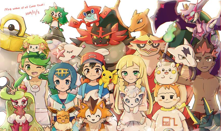 3boys 3girls alolan_marowak alolan_vulpix charizard eevee highres incineroar kaki_(pokemon) lillie_(pokemon) lycanroc mamane_(pokemon) mao_(pokemon) marowak melmetal multiple_boys multiple_girls naganadel pokemon pokemon_(anime) pokemon_sm_(anime) primarina rotom rotom_dex rowlet satoshi_(pokemon) shaymin suiren_(pokemon) togedemaru tsareena turtonator vikavolt vulpix