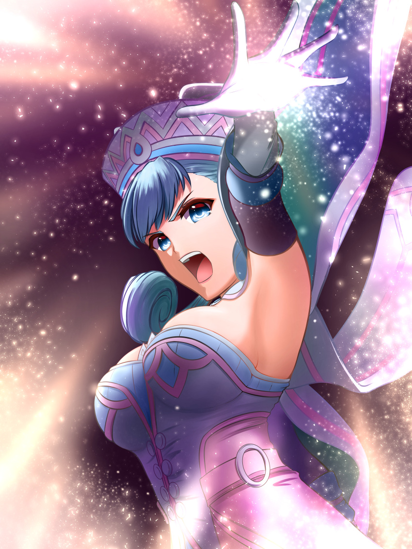 1girl absurdres armpits blue_eyes breasts dress elbow_gloves from_below gloves grey_hair hat highres large_breasts magic melia mercury_xeno open_mouth sideboob sidelocks solo xenoblade_(series) xenoblade_1