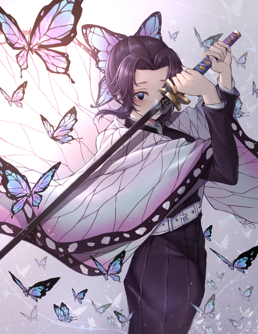 1girl absurdres arms_up belt belt_buckle black_skirt blue_eyes buckle bug butterfly butterfly_hair_ornament commentary_request dodon_gadon feet_out_of_frame fingernails forehead gradient gradient_background grey_background hair_ornament highres holding holding_sword holding_weapon insect katana kimetsu_no_yaiba kochou_shinobu long_skirt long_sleeves looking_at_viewer open_clothes purple_hair short_hair sidelocks skirt solo standing sword weapon