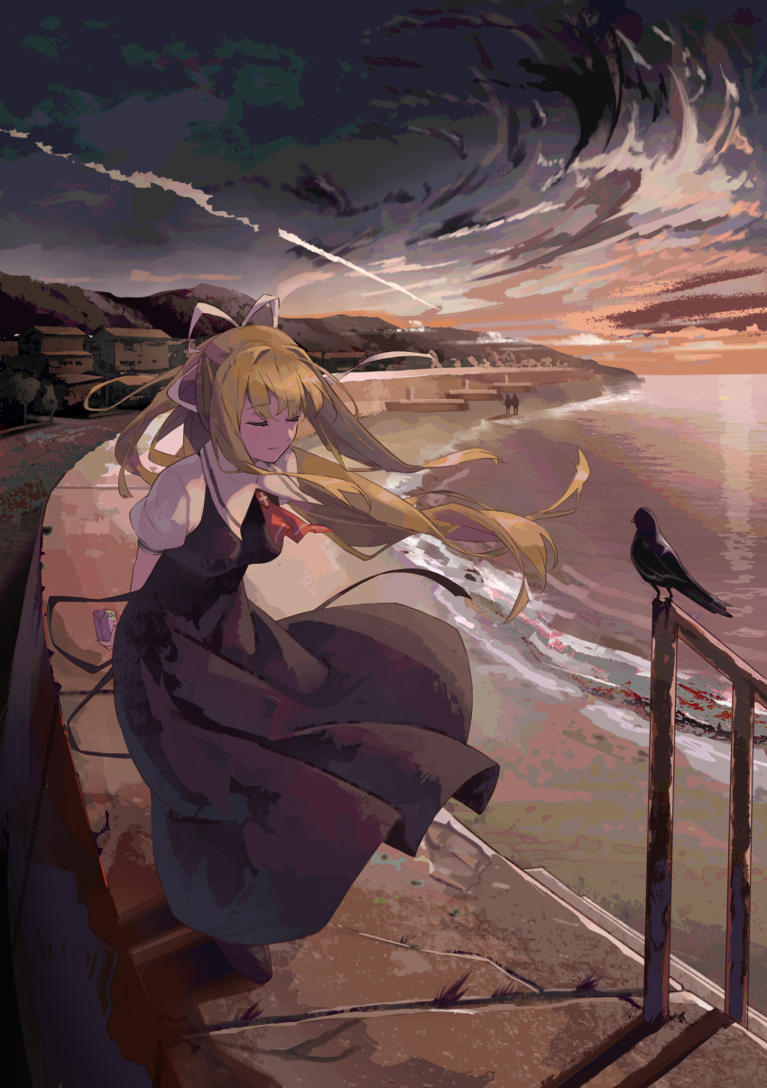 1girl absurdres air arms_behind_back beach bird black_skirt blonde_hair breasts closed_eyes crow gradient_sky highres kamio_misuzu key_(company) long_hair medium_breasts outdoors railing ribbon school_uniform skirt sky solo standing twilight white_ribbon yuki_(pixiv19687860)