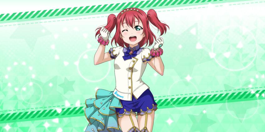 blush dress green_eyes kurosawa_ruby love_live!_school_idol_festival_all_stars pink_hair short_hair smile twintails wink