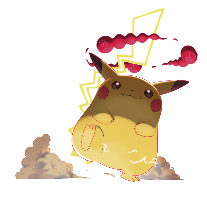 :3 absurdres artist_request blank_eyes blush_stickers brown_eyes closed_mouth electricity gen_1_pokemon gigantamax gigantamax_pikachu highres jpeg_artifacts leg_up no_humans official_art pikachu pokemon pokemon_(creature) pokemon_(game) pokemon_swsh simple_background smile smoke solo standing standing_on_one_leg white_background