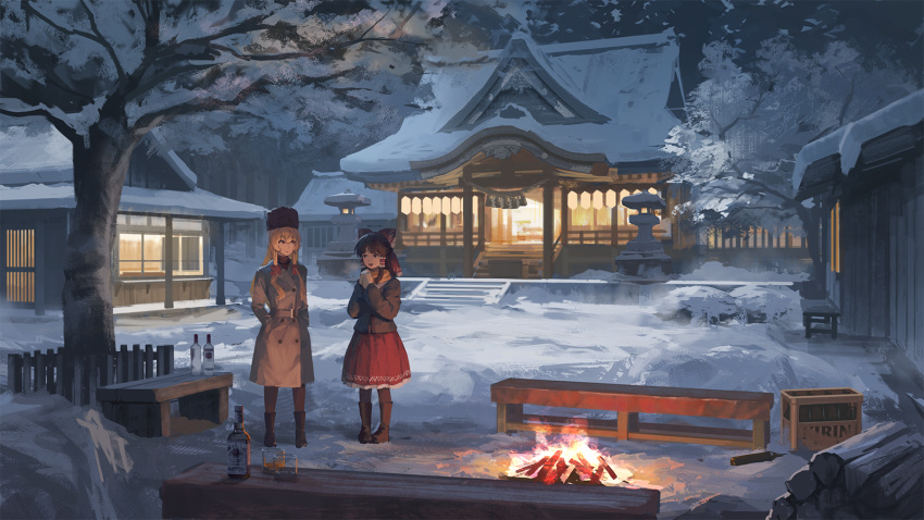 2girls alcohol architecture bangs belt bench blonde_hair boots bottle bow brown_hair buttons campfire coat cup drinking_glass east_asian_architecture fence fire forest full_body fur_hat hair_between_eyes hair_ribbon hair_tubes hakurei_reimu hakurei_shrine hands_in_pockets hands_together hands_up hat highres kirisame_marisa lantern log long_hair long_sleeves looking_at_another medium_hair mikado_(winters) multiple_girls nature night open_mouth outdoors own_hands_together red_bow red_ribbon red_skirt ribbon scarf scenery shot_glass sidelocks skirt snow standing stone_lantern tagme touhou tree ushanka vodka whiskey winter winter_clothes yellow_scarf