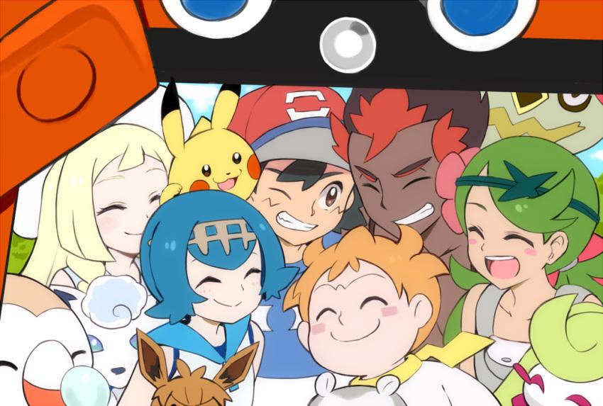 alolan_vulpix cu-sith eevee kaki_(pokemon) lillie_(pokemon) pikachu pokemon pokemon_(anime) pokemon_(game) pokemon_sm pokemon_sm_(anime) rowlet satoshi_(pokemon) togedemaru tsareena turtonator