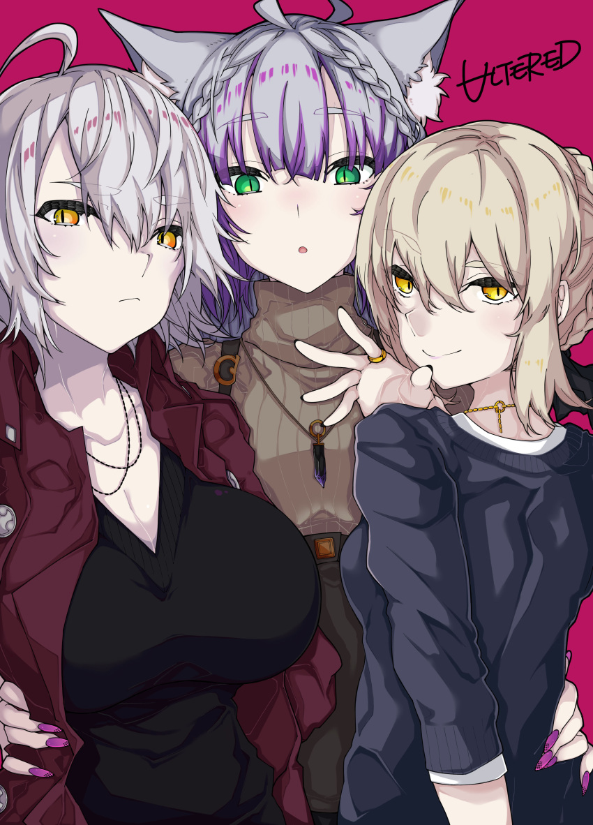 3girls :o absurdres ahoge animal_ear_fluff animal_ears artoria_pendragon_(all) atalanta_(alter)_(fate) atalanta_(fate) bangs black_sweater braid breasts brown_jacket brown_sweater cat_ears closed_mouth commentary_request eyebrows_visible_through_hair fate/apocrypha fate/grand_order fate/stay_night fate_(series) fingernails green_eyes grey_hair hair_between_eyes highres jacket jeanne_d'arc_(alter)_(fate) jeanne_d'arc_(fate)_(all) jewelry kirishina_(raindrop-050928) large_breasts light_brown_hair looking_at_viewer looking_back multicolored_hair multiple_girls nail_polish open_clothes open_jacket parted_lips pink_nails purple_hair red_background ribbed_sweater ring saber_alter short_sleeves sidelocks signature simple_background slit_pupils smile streaked_hair sweater thick_eyebrows turtleneck turtleneck_sweater yellow_eyes