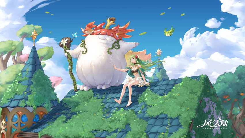 1girl :3 arm_at_side ash_tale-kaze_no_tairiku- bare_shoulders barefoot bird black_bikini_top blue_sky character_request clouds copyright_name creature day dress fantasy flower food fruit fruit_tree green_hair hair_flower hair_ornament hair_ribbon highres holding holding_staff jewelry long_hair moss necklace on_roof outdoors outstretched_arm outstretched_arms pinecone red_flower red_rose revealing_clothes ribbon rooftop rose shawl sitting sky smile spread_arms staff star tassel thighlet tower tree white_dress white_flower wind yubo-w