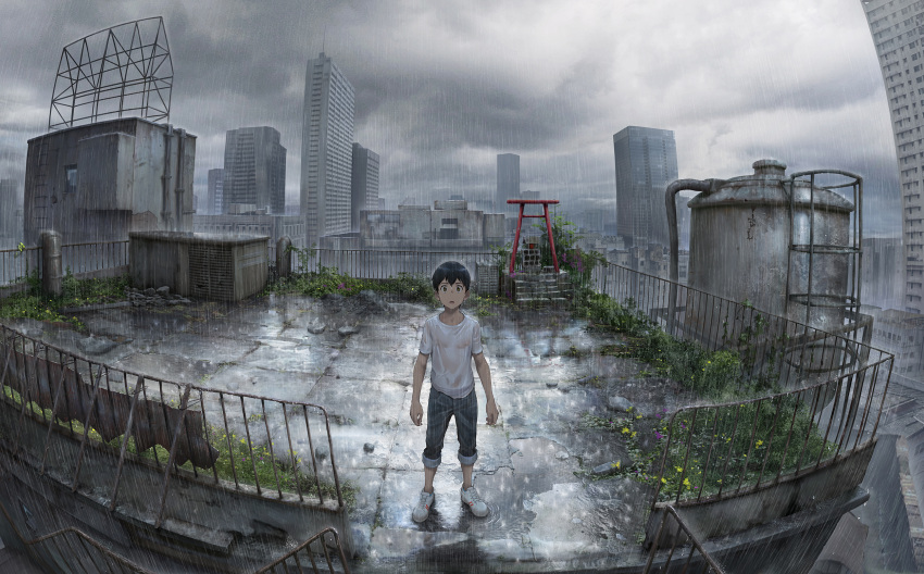 1boy arms_at_sides bare_arms beitemian black_hair brown_eyes building city cityscape clouds cloudy_sky grass highres ladder looking_at_viewer male_focus morisaki_hotaka outdoors pants pants_rolled_up pipes plant puddle railing rain ripples rooftop rubble scenery shinto shirt shoes short_sleeves shrine sky skyscraper sneakers solo stairs standing surprised t-shirt tenki_no_ko tile_floor tiles torii water_tank wet wet_clothes wet_hair wet_shirt white_footwear white_shirt widescreen