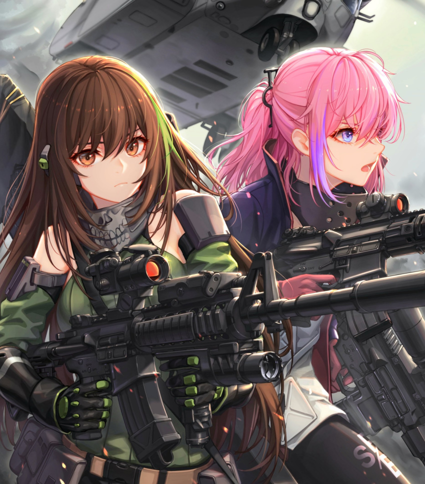 2girls aircraft ar-15 arm_strap assault_rifle asymmetrical_pants baek_hyang bangs black_gloves black_pants blue_eyes breasts brown_eyes brown_hair ch-53 city close-up closed_mouth clouds cloudy_sky commentary_request detached_sleeves dual_wielding finger_on_trigger floating_hair gas_mask girls_frontline glint gloves green_hair green_sweater gun hair_between_eyes helicopter highres holding holding_gun holding_weapon jacket long_hair looking_at_viewer m4_carbine m4a1_(girls_frontline) magazine_(weapon) mod3_(girls_frontline) multicolored_hair multiple_girls open_mouth outdoors pants pink_hair ponytail pouch ribbed_sweater rifle running sidelocks sky snap-fit_buckle st_ar-15_(girls_frontline) streaked_hair suppressor sweater sweater_vest thigh_strap weapon weapon_bag wind