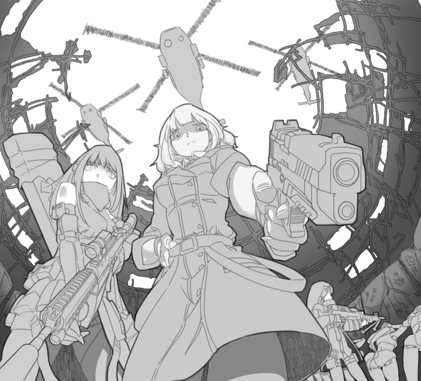 6+girls aiming_at_viewer aircraft arms_behind_head artist_request assault_rifle commentary_request finger_on_trigger fingerless_gloves gentiane_(girls_frontline) girls_frontline gloves gun handgun helicopter highres jaeger_(girls_frontline) korean_commentary m4_carbine m4a1_(girls_frontline) military military_jacket military_uniform multiple_girls prisoner rifle ripper_(girls_frontline) ruins sangvis_ferri scope uh-60_blackhawk uniform weapon