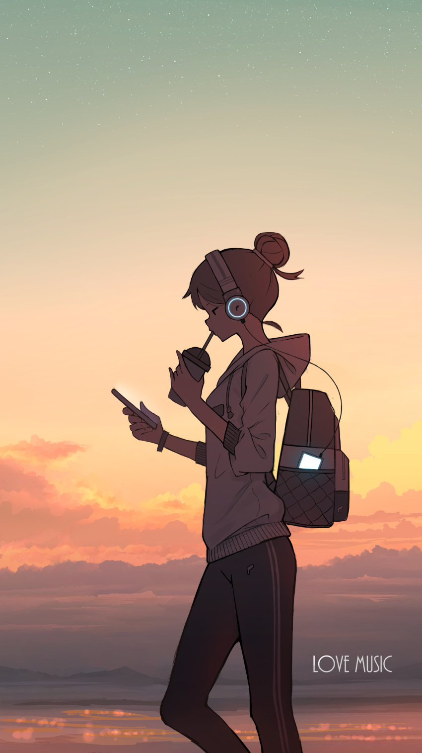 1girl absurdres backlighting backpack bag black_eyes black_pants brown_hair cable cellphone clouds cloudy_sky cup disposable_cup drinking english_text evening feet_out_of_frame from_side glowing hair_bun headphones highres holding holding_cellphone holding_cup holding_phone hood hood_down jitome long_sleeves mountainous_horizon original outdoors pants pasoputi phone profile short_hair sky smartphone solo standing sunset track_pants white_hoodie wristband