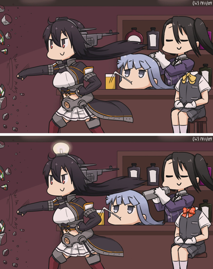 3girls bar bartender black_gloves black_hair blouse blue_eyes blue_hair bottle bow closed_eyes coat commentary_request counter dated disembodied_head drinking_straw dullahan elbow_gloves feet_out_of_frame fingerless_gloves gloves grey_skirt grey_vest hamu_koutarou hatsukaze_(kantai_collection) headgear headless highres hime_cut kantai_collection light_bulb long_hair military military_uniform miniskirt multiple_girls nachi_(kantai_collection) nagato_(kantai_collection) pleated_skirt red_bow red_eyes remodel_(kantai_collection) school_uniform shelf side_ponytail sipping sitting skirt spot_the_differences thigh-highs throwing uniform vest white_blouse white_gloves white_hair white_skirt