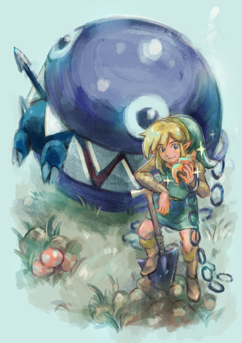 1boy belt blonde_hair blue_eyes blush boots bow_wow_(link's_awakening) brown_footwear chain chain_chomp closed_mouth eating full_body fuwamoko_momen_toufu highres holding knee_boots link male_focus monster mushroom outdoors pointy_ears polearm seashell sharp_teeth shell shovel sidelocks smile sparkle spear standing teeth the_legend_of_zelda the_legend_of_zelda:_link's_awakening tunic weapon