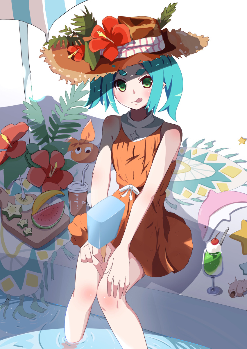 1girl absurdres aqua_hair bag banana carpet cup disposable_cup dolphin drawdream1025 dress feet_out_of_frame flower food fork fruit green_eyes hands_on_own_knees hat hat_ornament highres holding melon monogatari_(series) ononoki_yotsugi parasol plank plant pool popsicle shell sitting solo starfruit sun_hat sundress tongue tongue_out twintails umbrella water