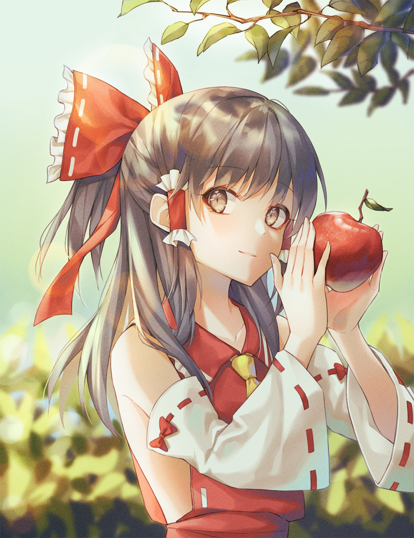 1girl apple ascot bangs bare_shoulders black_hair bow branch brown_eyes cha_chya collarbone commentary day detached_sleeves eyebrows_visible_through_hair food frilled_bow frilled_shirt_collar frills fruit hair_bow hair_tubes hakurei_reimu half_updo hands_up highres holding holding_food holding_fruit leaf lens_flare long_hair long_sleeves looking_at_viewer outdoors red_bow ribbon-trimmed_sleeves ribbon_trim sidelocks smile solo touhou upper_body wide_sleeves yellow_neckwear