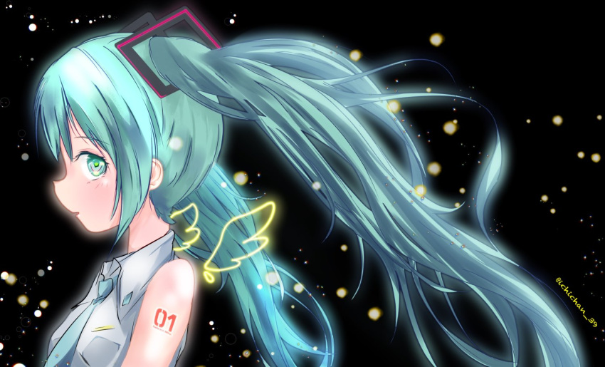 1girl aqua_eyes aqua_hair aqua_neckwear bare_shoulders black_background blurry bokeh character_name commentary depth_of_field drawn_wings floating_hair from_side grey_shirt hair_ornament hatsune_miku ichichan_39 long_hair looking_at_viewer looking_to_the_side necktie number_tattoo shirt shoulder_tattoo sleeveless sleeveless_shirt solo symbol_commentary tattoo twintails twitter_username upper_body very_long_hair vocaloid wings