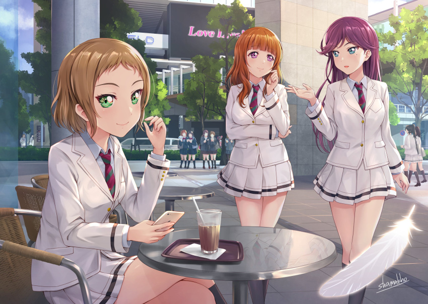 3girls a-rise brown_hair green_eyes highres idol kira_tsubasa long_hair looking_at_viewer love_live! love_live!_school_idol_project mole mole_under_eye multiple_girls open_mouth purple_hair real_world_location shamakho short_hair skirt smile toudou_erena violet_eyes yuuki_anju