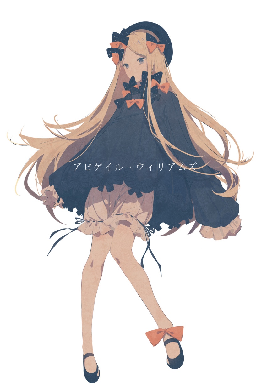 1girl abigail_williams_(fate/grand_order) aqua- bangs black_bow black_dress black_footwear black_headwear blonde_hair bloomers blue_eyes bow bug butterfly character_name closed_mouth commentary_request dress eyebrows_visible_through_hair fate/grand_order fate_(series) full_body hair_bow hat highres insect knees_together_feet_apart long_hair long_sleeves looking_at_viewer orange_bow parted_bangs polka_dot polka_dot_bow shoes simple_background sleeves_past_fingers sleeves_past_wrists solo translated underwear very_long_hair white_background white_bloomers