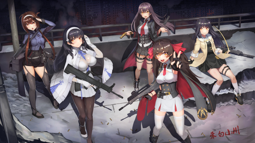 5girls absurdres assault_rifle breasts bridge bullpup fingerless_gloves girls_frontline gloves gun hebai_xiaochuan highres huge_filesize jacket large_breasts long_hair multiple_girls necktie nz_75 nz_75_(girls_frontline) prosthesis prosthetic_arm qbu-88 qbu-88_(girls_frontline) qbz-95 qbz-95_(girls_frontline) qbz-97 qbz-97_(girls_frontline) rifle shadow siblings signature sisters socks thigh-highs twintails type_79_(girls_frontline) type_79_smg victory_pose weapon