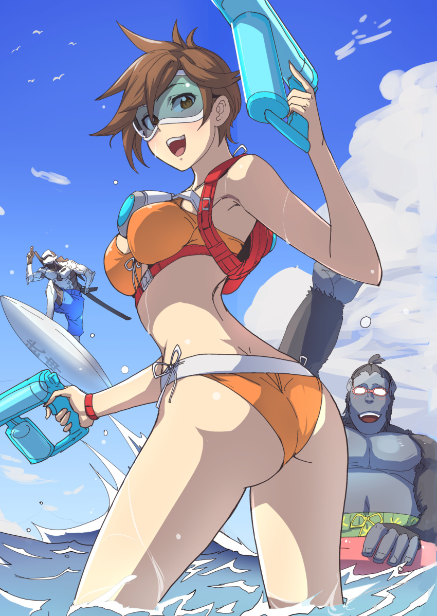 1girl 2boys :d armor ass backpack bag beach bikini breasts brown_eyes brown_hair clash_kuro_neko cyborg day dual_wielding genji_(overwatch) glasses goggles gorilla highres holding innertube katana looking_at_viewer looking_back medium_breasts multiple_boys open_mouth orange_bikini outdoors overwatch short_hair sky smile surfing swimsuit sword tracer_(overwatch) twisted_torso wading water_gun weapon winston_(overwatch)