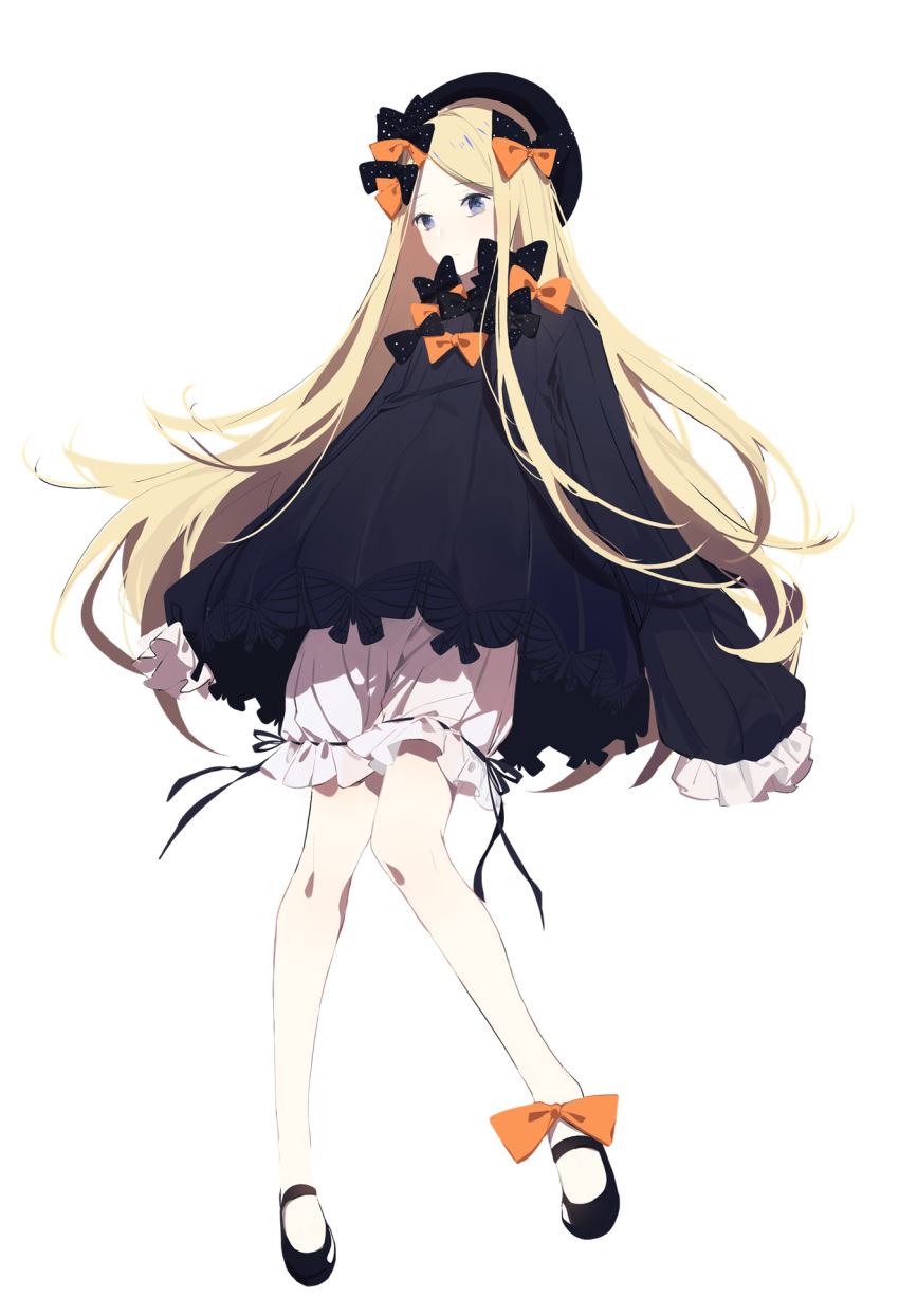1girl abigail_williams_(fate/grand_order) aqua- bangs black_bow black_dress black_footwear black_headwear blonde_hair bloomers blue_eyes bow bug butterfly closed_mouth dress eyebrows_visible_through_hair fate/grand_order fate_(series) full_body hair_bow hat highres insect knees_together_feet_apart long_hair long_sleeves looking_at_viewer orange_bow parted_bangs polka_dot polka_dot_bow shoes simple_background sleeves_past_fingers sleeves_past_wrists solo underwear very_long_hair white_background white_bloomers