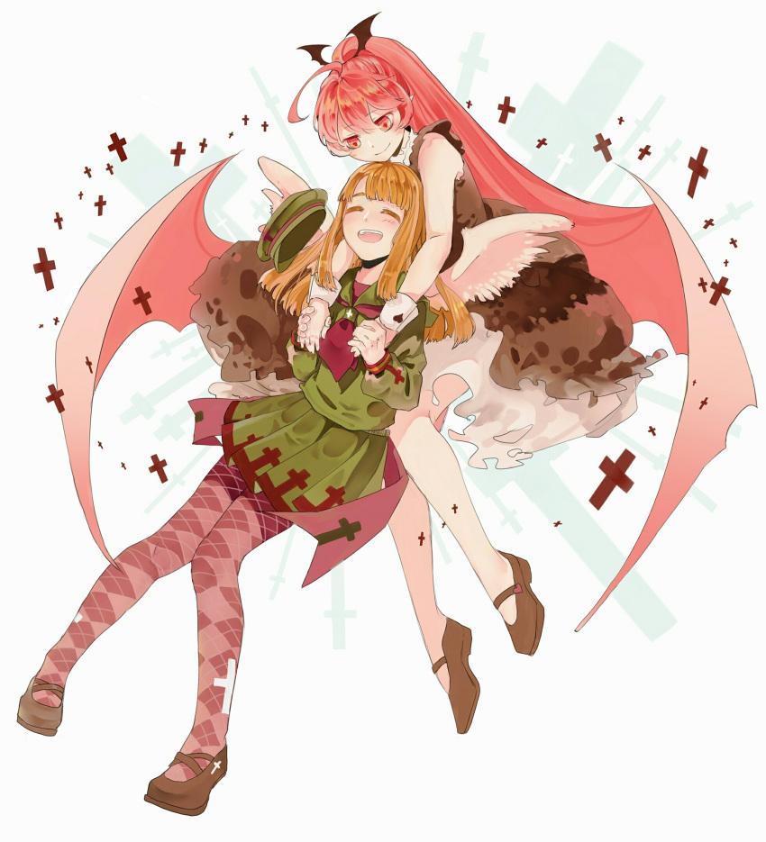 2girls :d ^_^ ahoge argyle argyle_legwear blush brown_footwear brown_hair closed_eyes closed_mouth commentary_request cross dress green_hair green_shirt green_skirt haiiro_teien hair_wings hat hat_removed headwear_removed highres holding_hands knees_together_feet_apart long_hair long_sleeves looking_at_another macarona mary_janes multiple_girls open_mouth pantyhose pink_eyes pink_hair pleated_skirt ponytail rawberry school_uniform serafuku shirt shoes skirt sleeveless sleeveless_dress smile srivar very_long_hair white_background wings wrist_cuffs
